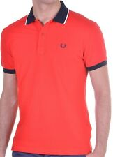 Polo Manica Corta Maglia Uomo Men Fred Perry Made in Italy V0037 Rossa