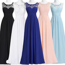 Long Sleeveless Formal Prom Cocktail Evening Bridesmaid Dress Party Ball Gowns