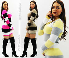 New Womens Ladies Striped Jumper Casual Sexy Top Knitted Pullover Stretchy Dress
