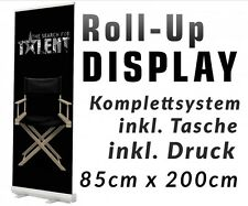 Roll up Display 85x200cm +Druck +Tasche Roll-UP Bannerdisplay Aufsteller 12A06