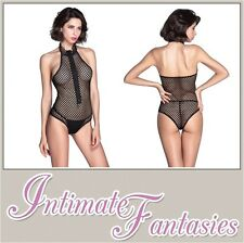 Sexy Black Fishnet Zip Front Halter Teddy Outfit See Through Size M 8 10 12 14