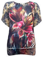 Womens Plus Size  Floral Snake Printed Short Sleeve Top Size 12,14,16,18
