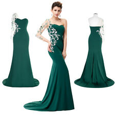 Applique Long Asymmetrical Sleeve Evening Long Dress Maxi Prom Ball Formal Gown