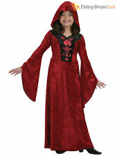 Age 4-12 Girls Hooded Vampire Robe Halloween Vampiress Fancy Dress Costume Kids