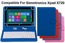 Premium Leather Finished Keyboard Tablet Flip Cover For Simmtronics Xpad X720