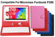 Leather Finished Keyboard Tablet Flip Cover For Micromax Funbook P280