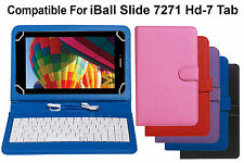 Leather Finished Keyboard Tablet Flip Cover For iBall Slide 7271 Hd-7 Tab