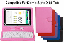Premium Leather Finished Keyboard Tablet Flip Cover For Domo Slate X15 Tab