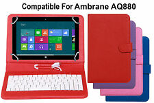 Premium Leather Finished Keyboard Tablet Flip Cover For Ambrane AQ880