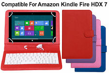 Leather Finished Keyboard Tablet Flip Cover For Amazon Kindle Fire HDX 7