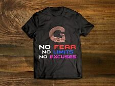 No Fear No Limits No Excuses GYM MUSCLE MOTIVATION FITNESS TOP TEE T SHIRT SIZES