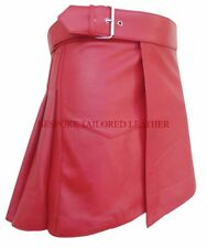 Men Real Leather Kilt in Gladiator Style GENUINE LAMBSKIN in RED BKLN001