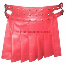 Mens Leather Kilt Gladiator style  in RED BKLN003