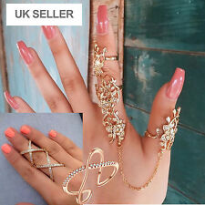 Finger Stack Full Crystal Cuff Ring Midi X Cross Finger Stackable Ring -UkSeller