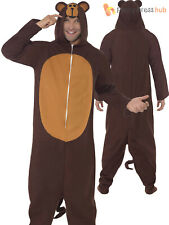 Adults Monkey Costume Mens Ladies Animal Fancy Dress Zoo Jungle Outfit Onesie