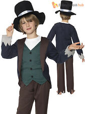 Childrens Poor Victorian Boy Costume Kids Peasant Historic Fancy Dress Book Week