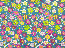 JUNGLE FLOWER JERSEY FABRICTEAL A64 BRIGHT FLOWERS DRESSMAKING & CRAFT