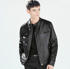 ZARA Man Authentic BNWT Black Leather Biker Jacket S-M-L 5475/302 RRP £79.99
