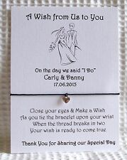 Personalised Wedding Favour Gift Card with Wish String Bracelet ....