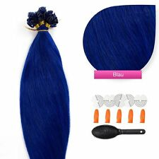 Keratin Bonding (# Blue) Hair Extensions 100% Remy Echthaar Haarverlängerung