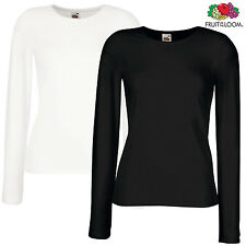 Fruit Of The Loom LADIES LONG SLEEVES T-SHIRT LADY FIT BASIC TOP PREMIUM XS-2XL