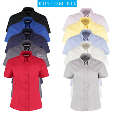KUSTOM KIT LADIES OXFORD SHIRT SHORT SLEEVE SMART BUTTON DOWN COLLAR SIZES 8-26