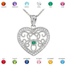 10k White Gold Filigree Heart Diamond and Personalized Stone Pendant Necklace