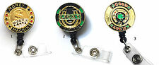 Rhinestone Crystal reel retractable ID badge holder - Lucky