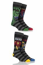 Mens 4 Pair SockShop Marvel Comics Mix Hulk, Spider-Man, Iron Man & Wolverine So