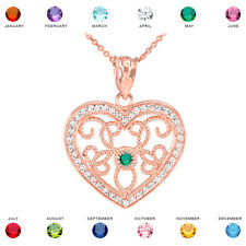 14k Rose Gold Filigree Heart Diamond and Personalized Stone Pendant Necklace