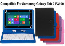 Leather Finished Keyboard Tablet Flip Cover For Samsung Galaxy Tab 2 P3100 Tab2