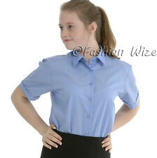 Girls School Shirts Blouse Short Sleeve White Sky Blue Uniform Age 2 3 4 5 6 7 8