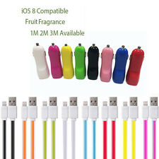 Dual Port Car Charger 3M Flat Noodle USB Data Cable For iPhone 5 5S SE 6 6S iPad