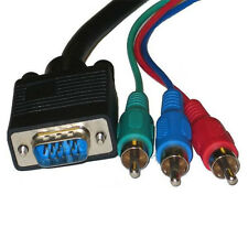 D-Sub HD15 VGA / SVGA to 3-RCA RGB Component Video Cable - 6Ft,10Ft,15Ft,25Ft