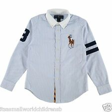 RALPH LAUREN boys Big Pony blue stripe blake SHIRT 7 8 9 10Y cotton oxford BNWT