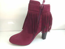 New Womens Ankle Boots High Block Heels Side Strap Faux Suede Tassel Party Size
