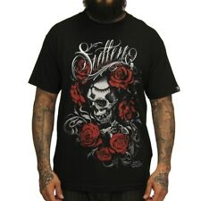 Sullen Art Collective Clothing T-Shirt Schwarz - Death And Roses Schädel Rosen