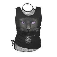 Spiral Girlie 2in1 Top - Black Cat Mesh Vest