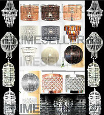 Chandelier Style Ceiling Light Shade Droplet Pendant Copper Acrylic Crystal Bead