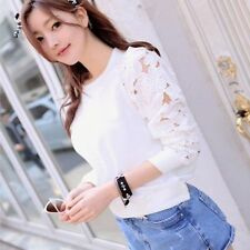 AB1  Pretty  LadiesIPretty  Women  Long Sleeve Embroidery Lace Shirt Top Blous