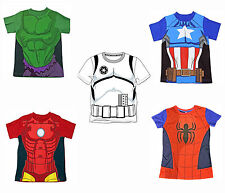 Bambini Supereroe T-Shirt Official Spiderman Iron Man Il Capitano America Hulk
