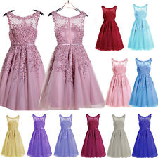 Beaded SHORT Lace Ball Formal Bridesmaid Prom Gowns Party Cocktail Evening Dress