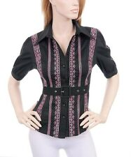NEW IMPORTED LOVELY BLACK BLOUSE WITH EMBROIDERY  SMALL MEDIUM LARGE
