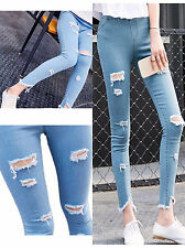 X55 New Womens Ladies Denim Ripped Jeggings Jeans In Plus Size.