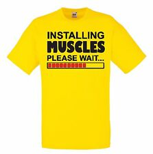 INSTALLING MUSCLES Men's Boys strong man crew neck funny quote T Shirt blue