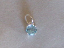 New 925 Sterling Silver Pendant Genuine Swiss Blue Topaz Gemstone Charm 6 mm