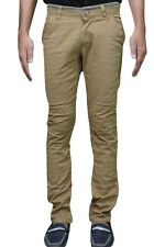 Ability Khaki Cotton Slim Fit Chinos Casual Trousers
