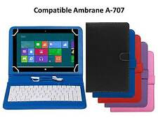 Stitched Leather Finished Keyboard Tablet Flip Cover For Ambrane A-707