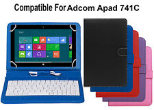 Stitched Leather Finished Keyboard Tablet Flip Cover For Adcom Apad 741C