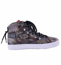 DOLCE & GABBANA High-Top Sneakers Camouflage Print Khaki Made in Italy 04631